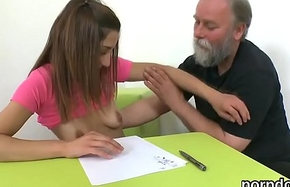 Erotic schoolgirl gets tempted with an increment of shagged by her elder motor coach