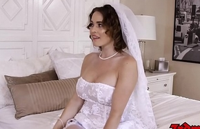Busty bride cuckolds hubby with BBC atop their bridal phase